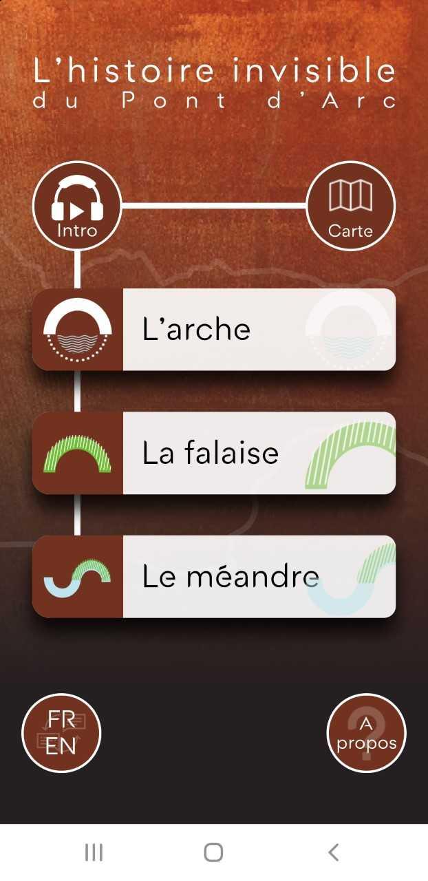 L'applicatif audioguide L'Histoire invisible du Pont d'Arc, mis en service en juin 2019.