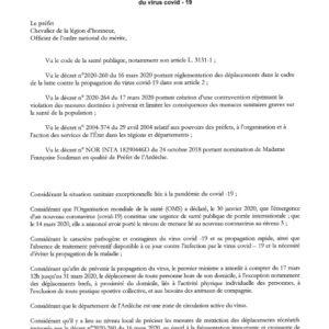 Arrêté préfectoral Covid 19